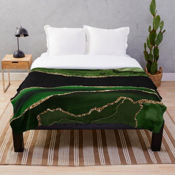 Emerald Green Malachite Marble Throw Blanket