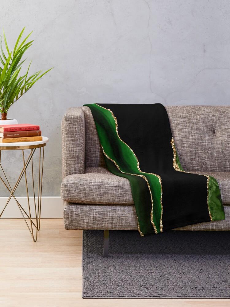 Alternate view of Emerald Green Malachite Marble Throw Blanket
