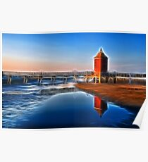 Fantasy Seacsape, textured Lighthouse and reflections Poster