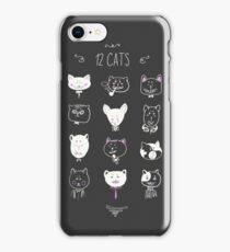Set of cats heads. Face kitten, whiskers and ears, muzzle and wool. Vector illustration iPhone Case/Skin