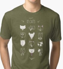 Set of cats heads. Face kitten, whiskers and ears, muzzle and wool. Vector illustration Tri-blend T-Shirt