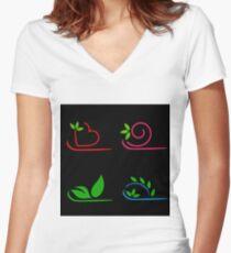 Floral artwork Women's Fitted V-Neck T-Shirt
