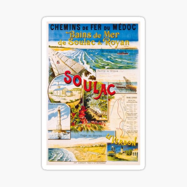 Affiche de Royan, Soulac et Le Verdon 1900 Sticker