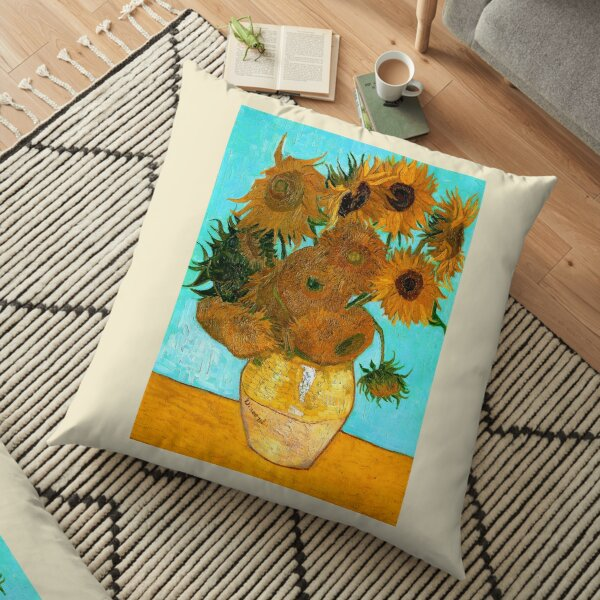 Van Gogh - Still Life Vase with 12 Sunflowers Floor Pillow