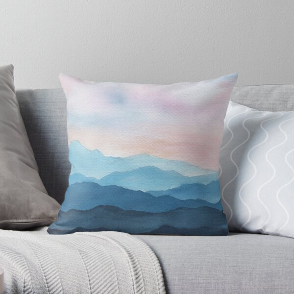 Blue Abstract Mountains Throw Pillow