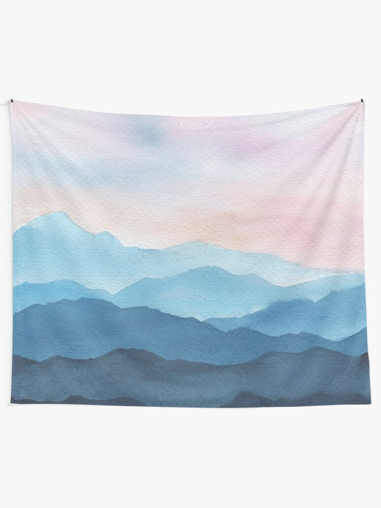 Alternate view of Blue Abstract Mountains Tapestry