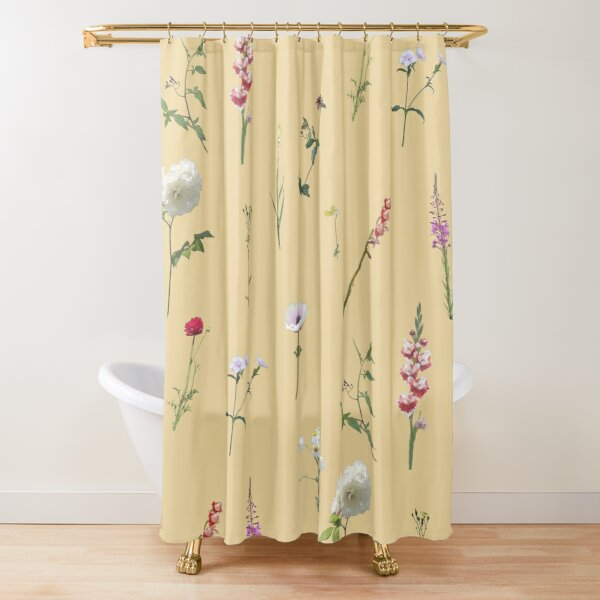 Flowers and herbs on light yellow Shower Curtain