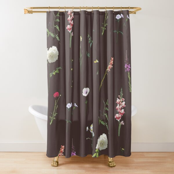 Flowers and herbs on brown Shower Curtain