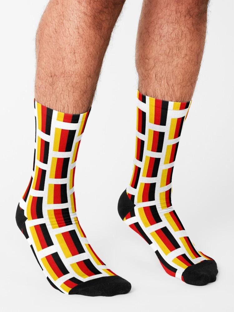 Alternate view of German Flag (Flagge Deutschlands, Germany). On White. Socks