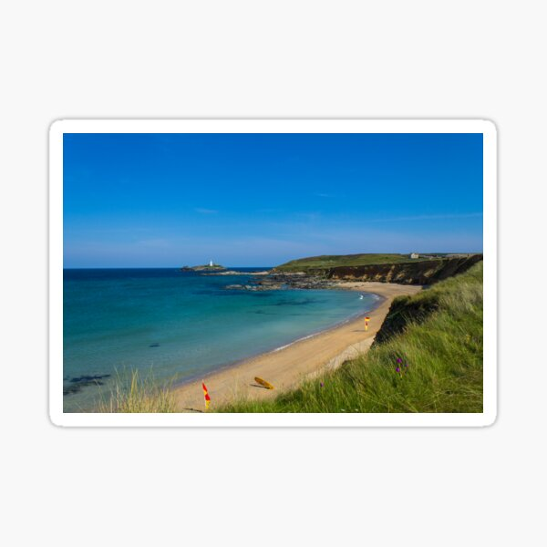Photographic view of  a sunny Godrevy Beach Cornwall Sticker