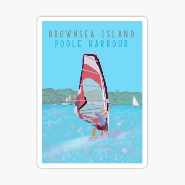 Poole Harbour, Brownsea Island windsurfer. Hand drawn Illustration Sticker