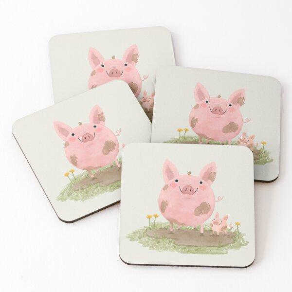 Piggies in a Mud Puddle Coasters (Set of 4)