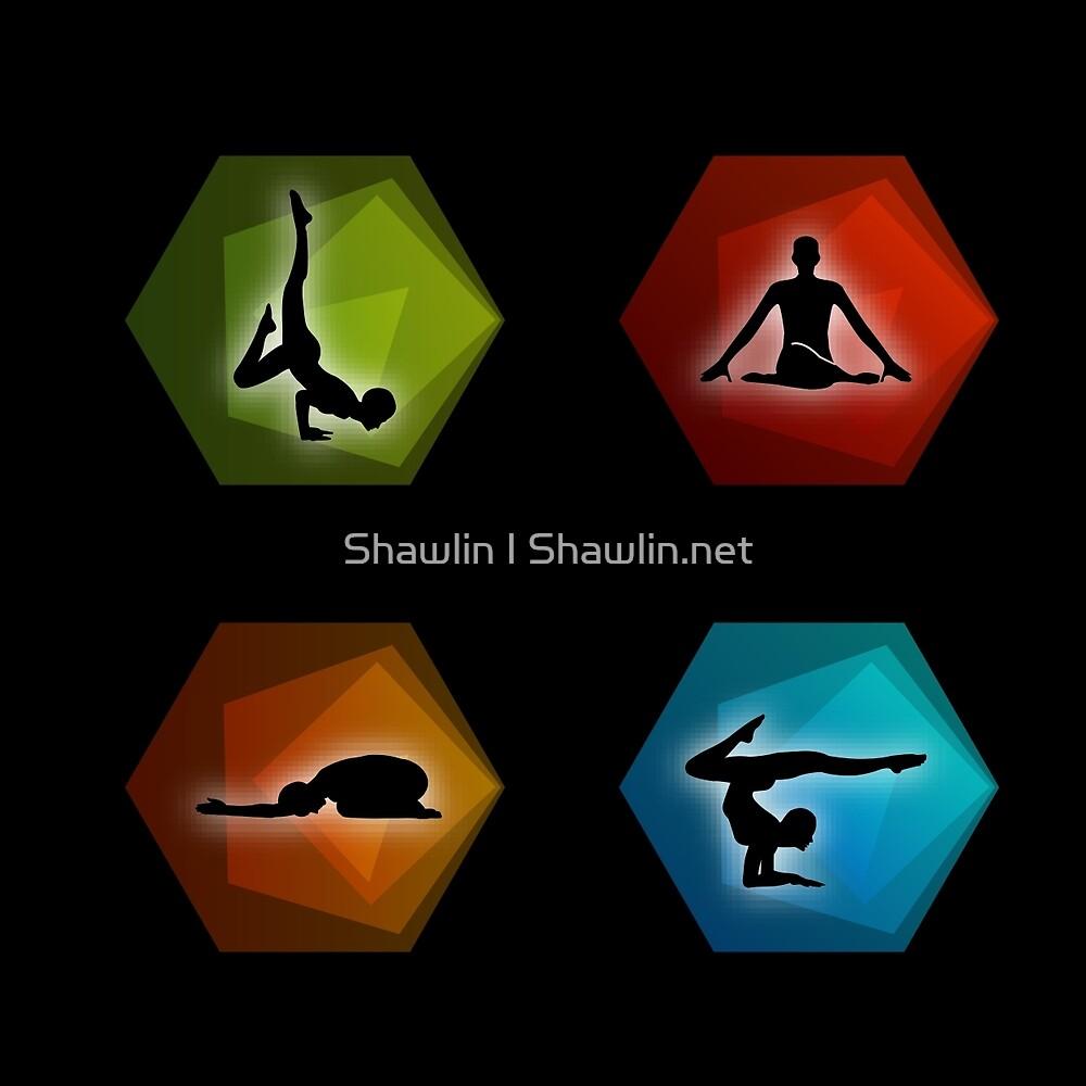 Yoga pilates set on geometric shapes  by Shawlin Mohd