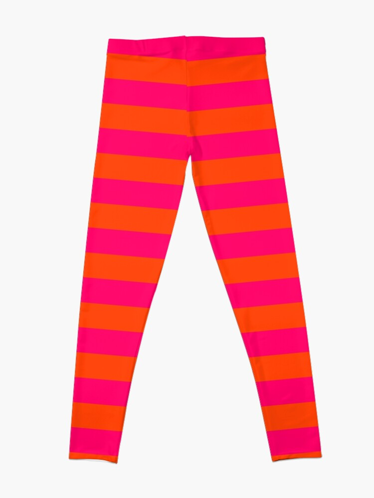 Alternate view of Super Bright Neon Pink and Orange Horizontal Beach Hut Stripes Leggings