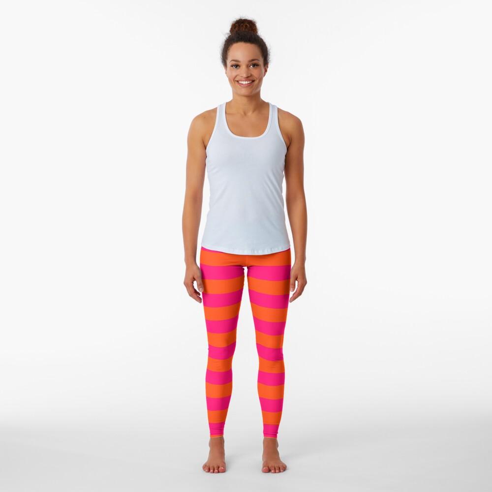 Super Bright Neon Pink and Orange Horizontal Beach Hut Stripes Leggings