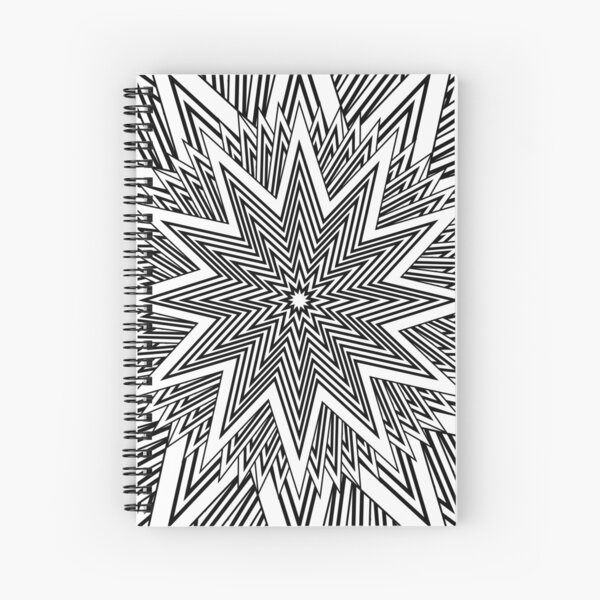 12 point Black and White Stars Spiral Notebook