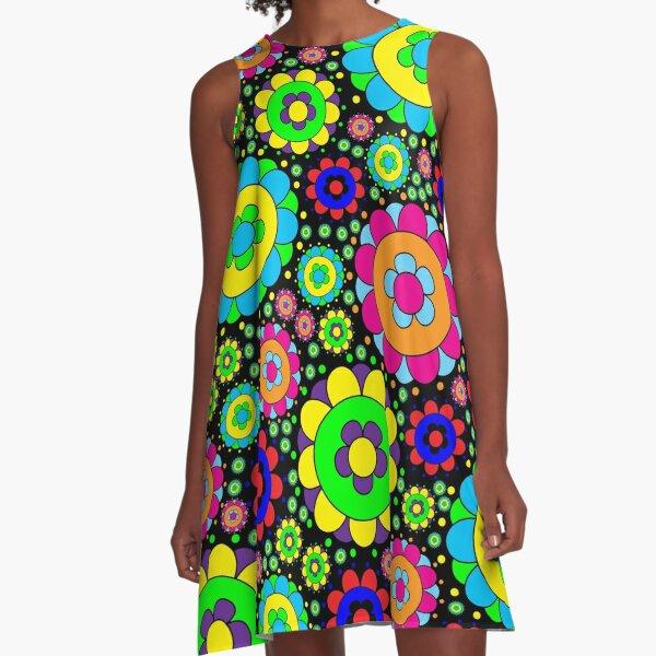 Flower Power Vintage 60s 70s Hippie Retro Flowers A-Line Dress