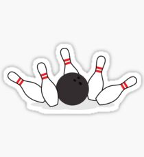 Bowling ball knocking down pins sticker Sticker