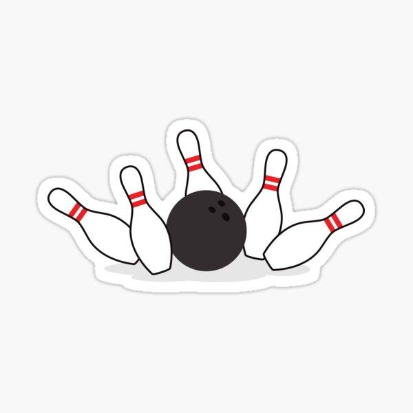 Bowling ball knocking down pins sticker Sticker