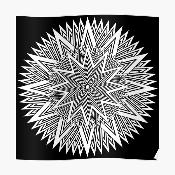 12 point Black and White Stars Poster