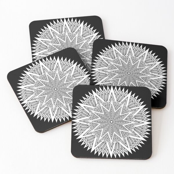 12 point Black and White Stars Coasters (Set of 4)