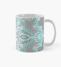 Teal and Aqua Lace Mandala on Grey Mug