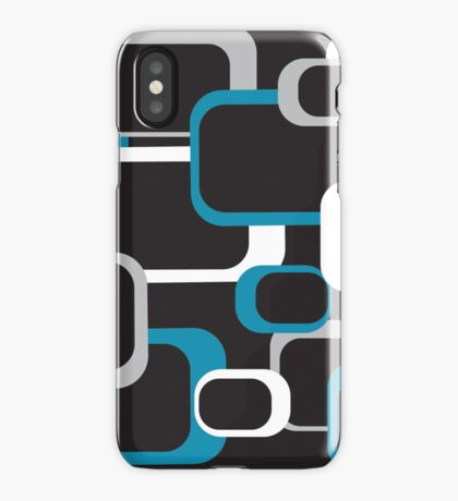 Blue Gray and White Retro Squares iPhone Case/Skin