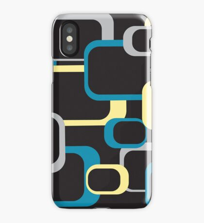 blue gray and yellow retro squares iPhone Case/Skin