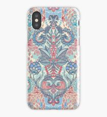 Botanical Geometry - nature pattern in red, blue & cream iPhone Case/Skin