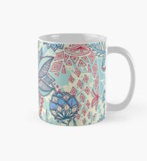 Botanical Geometry - nature pattern in red, blue & cream Mug
