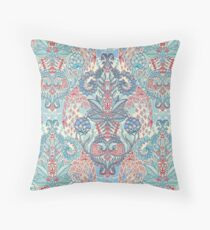 Botanical Geometry - nature pattern in red, blue & cream Throw Pillow