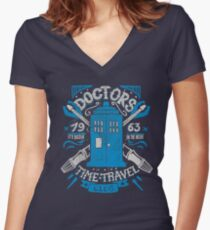 Doctors time travel club Women's Fitted V-Neck T-Shirt