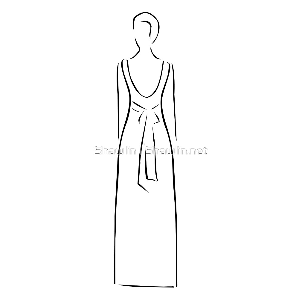 Abstract drawing of a slim woman wearing backless dress  by Shawlin Mohd