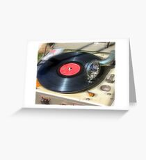 Turning Old Vinyl  Greeting Card