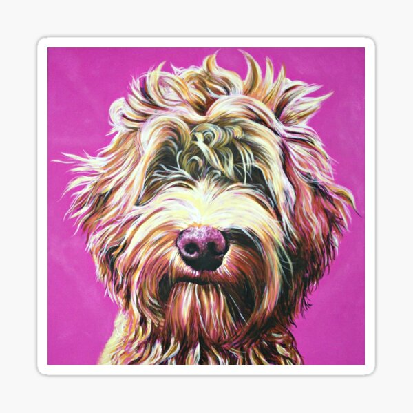 Goldendoodle on Pink Sticker