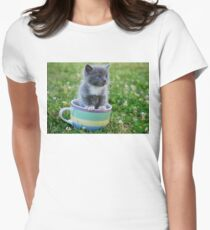 Tea Cup Kitty Womens Fitted T-Shirt