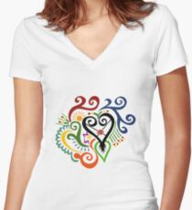 Calligraphic Motif Women's Fitted V-Neck T-Shirt