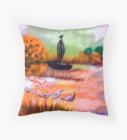 A lovely Fall day to be outside, watercolor Throw Pillow