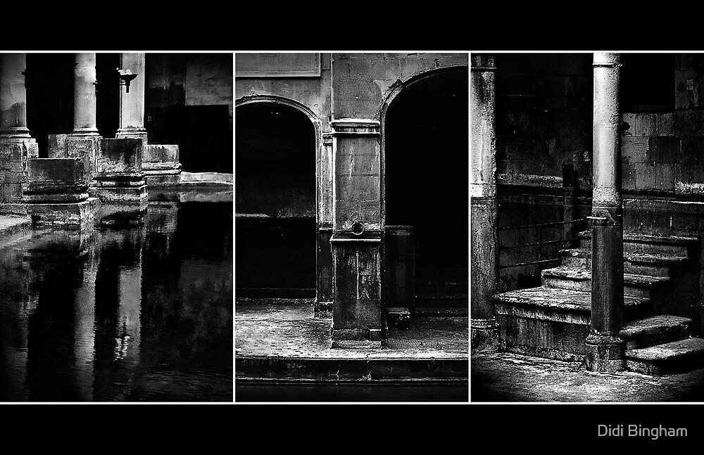 Roman Baths Triptych [black] by Didi Bingham
