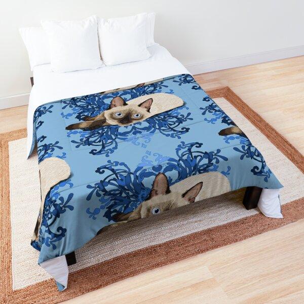 Elegant Blue Floral Siamese Cat Pretty Feline Comforter