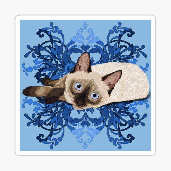 Elegant Blue Floral Siamese Cat Pretty Feline Sticker