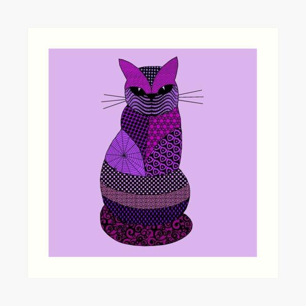 Purple Cat Zen Tangle Pretty Feline Art Pattern Art Print