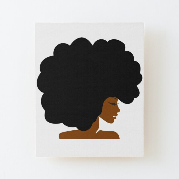 Big Curly Afro Natural Hair Black Woman Wood Mounted Print