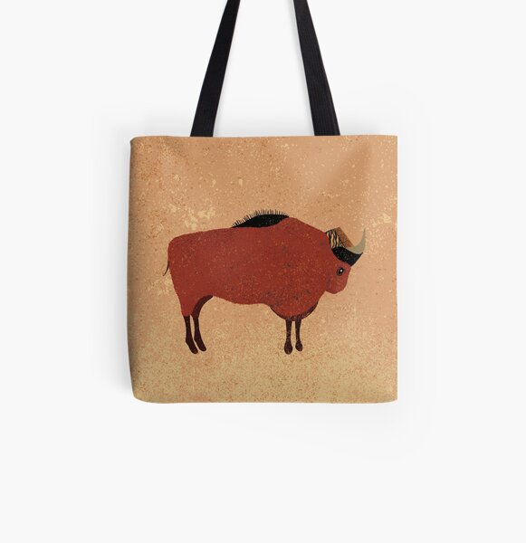 Stone age bison All Over Print Tote Bag