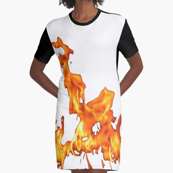 #Flame, #Forks of flame, #Spurts of flame, #fire, light, flames Graphic T-Shirt Dress