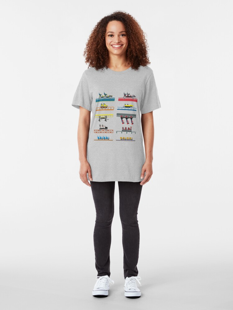 Alternate view of Carowinds Coaster Car Design Slim Fit T-Shirt