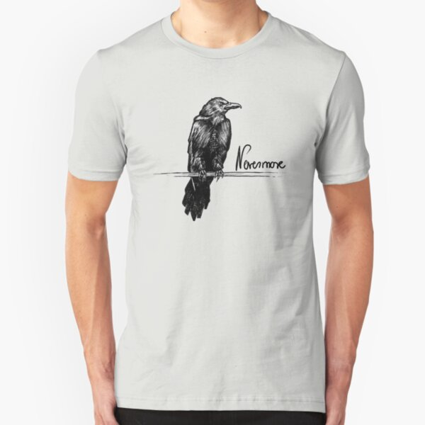 Nevermore Raven with Quote | Edgar Allan Poe Illustration Slim Fit T-Shirt