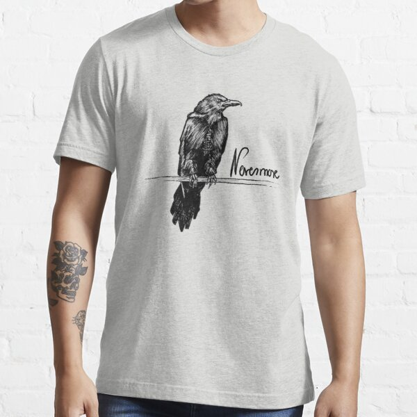 Nevermore Raven with Quote | Edgar Allan Poe Illustration Essential T-Shirt