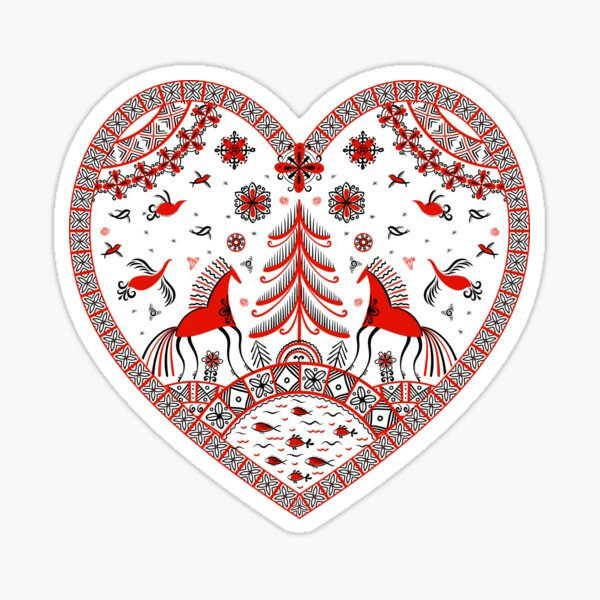 Decorative heart in the style of Mezen painting.  Sticker