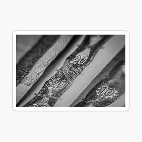 Macro Cash in Black and White Sticker